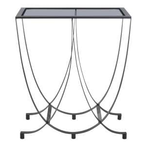 Ruchbah Metal Curved Side Table With Grey Glass Top