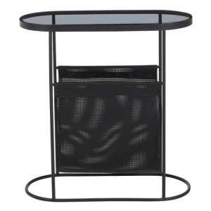 Ruchbah Metal Side Table With Grey Glass Top