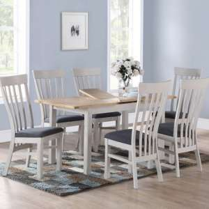 Trevino Dining Table In Antique Grey With Four Dining Chairs