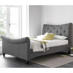 Trexus Fabric King Size Bed In Grey With Wooden Legs