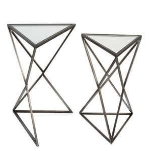 Triangle Clear Glass Top Set Of 2 Side Tables With Metal Frame