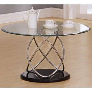 Trias Glass Coffee Table Round In Clear With Black Gloss Base