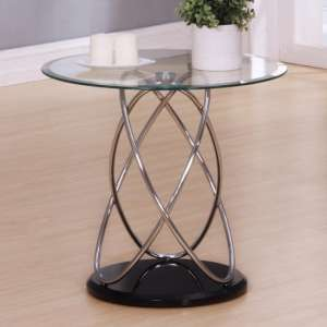 Trias Glass Lamp Table Round In Clear With Black Gloss Base