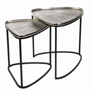 Trigon Aluminium Set Of 2 Side Tables With Metal Frame