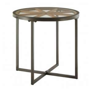 Trigona Glass Round Side Table With Black Metal Legs