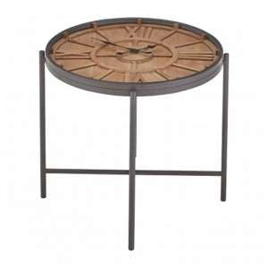 Trigona Glass Top Clock Side Table In Black Metal Legs