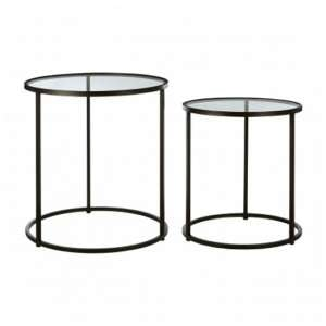 Trigona Set Of 2 Glass Side Tables With Black Metal Legs