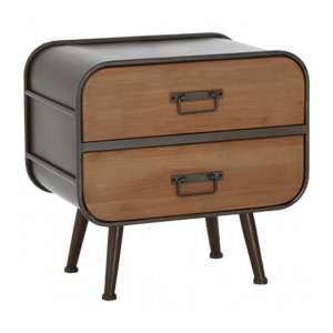 Trigona Wooden 2 Drawers Bedside Cabinet With Black Frame