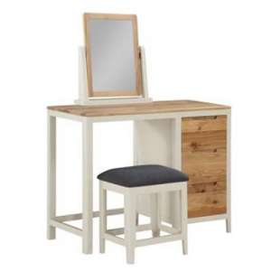 Trimble Dressing Table And Stool With Mirror In Spanish White
