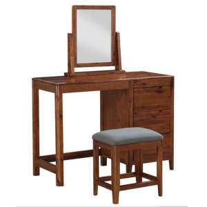 Trimble Dressing Table And Stool With Vanity Mirror In Acacia