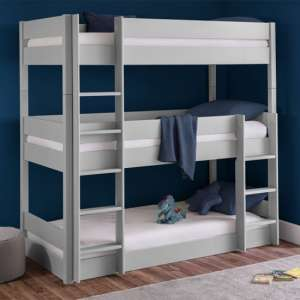 Trio Wooden Bunk Bed In Dove Grey