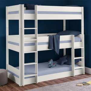 Trio Wooden Bunk Bed In Surf White