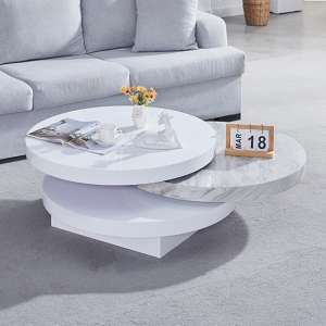 Triplo Gloss Coffee Rotating Coffee Table With Magnesia Marble Effect