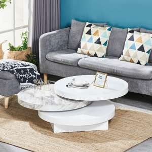 Triplo Rotating Coffee Table In White And Gloss Marble Effect