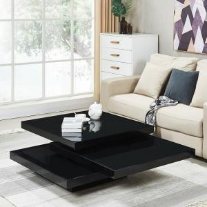 Triplo Rotating Coffee Table Square In Black High Gloss