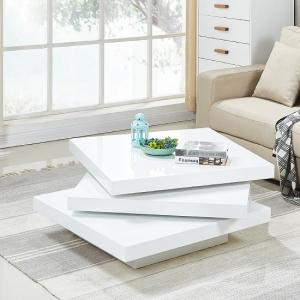 Triplo Rotating Coffee Table Square In White High Gloss