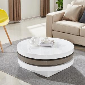 Triplo Rotating Coffee Table In White And Stone High Gloss