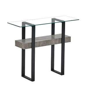 Triton Glass Console Table With Light Concrete And Black Metal