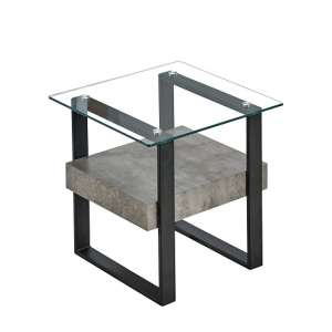 Triton Glass End Table With Light Concrete And Black Metal