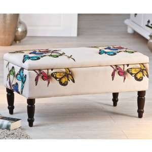 Trondheim Ottoman Storage Bench In Multicolor White With Legs