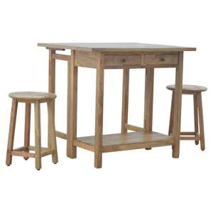 Tufa Wooden Bar Table Set In Natural Oak Ish With 2 Stools