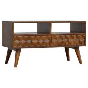 Tufa Wooden Cube Carved TV Stand In Chestnut With 2 Drawers