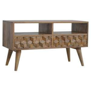 Tufa Wooden Cube Carved TV Stand In Oak Ish With 2 Drawers
