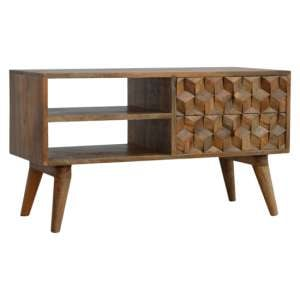 Tufa Wooden Cube Carved TV Stand In Oak Ish