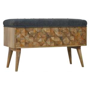 Tufa Wooden Diamond Carved Storage Hallway Bench In Oak And Grey