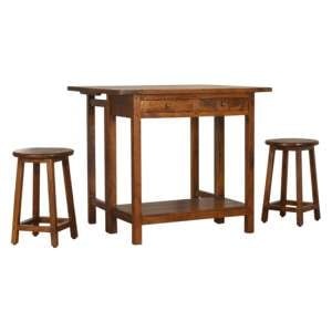 Tufa Wooden Bar Table Set In Chestnut With 2 Stools