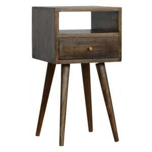 Tufa Wooden Petite Bedside Cabinet In Grey Washed