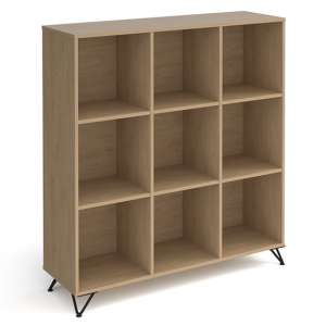 Tufnell High Wooden Shelving Unit In Kendal Oak And 9 Shelves