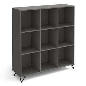 Tufnell High Wooden Shelving Unit In Onyx Grey And 9 Shelves