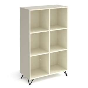 Tufnell High Wooden Shelving Unit In White And 6 Shelves