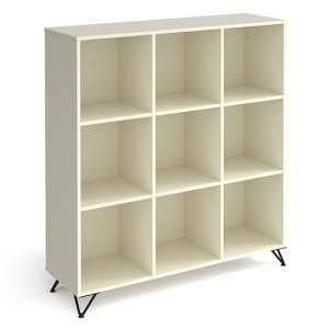 Tufnell High Wooden Shelving Unit In White And 9 Shelves