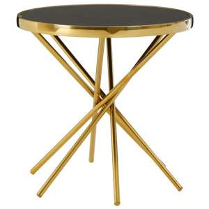 Saclateni Black Glass Round Side Table With Gold Abstract Base