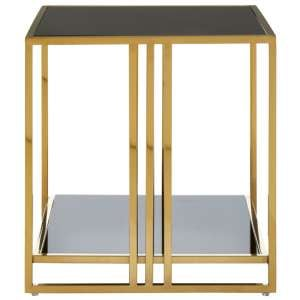 Saclateni Black Glass Square Side Table With Gold Base