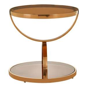 Saclateni Brown Glass Round Side Table In Rose Gold
