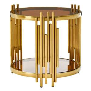 Saclateni Brown Glass Round Side Table With Tubular Base