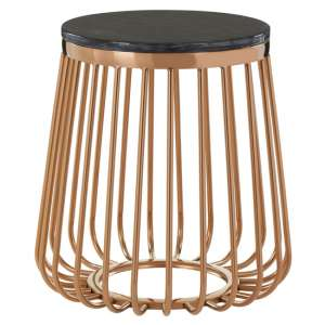 Saclateni Cage Design Round Marble Top Side Table In Rose Gold
