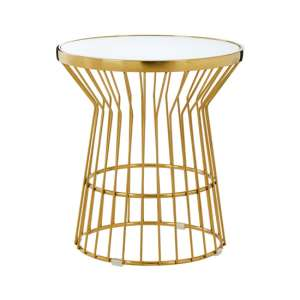 Saclateni Glass Side Table In Gold With Corset Base