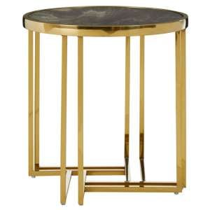 Saclateni Round Side Table In Gold With Marble Effect Top