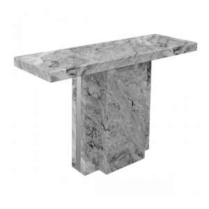 Tulia Marble Console Table In Grey With Mirrored Side Panels