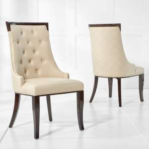 Tulip Dining Chair In Cream PU Dark High Gloss Legs In A Pair