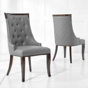 Tulip Dining Chair In Grey PU And Dark High Gloss Legs In A Pair