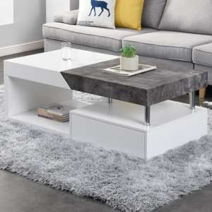 Tuna Storage Coffee Table In Matt White And Concrete Effect