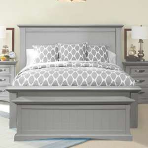 Turner Wooden Double Bed In Grey