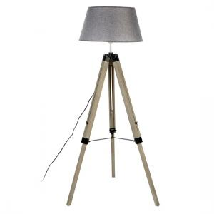 Tuscany Floor Lamp In Grey Shade With Wooden Tripod Base