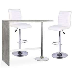 Tuscon Bar Table In Concrete Effect And 2 Ripple White Bar Stool