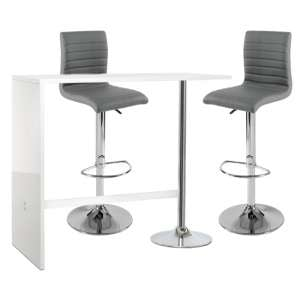Tuscon Bar Table In White Gloss With 2 Ripple Grey Bar Stools